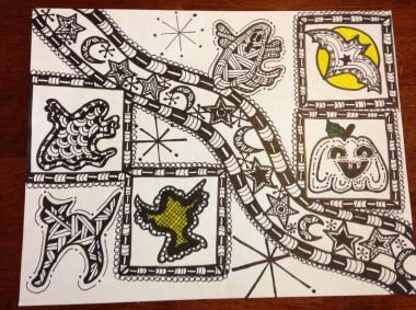 zentangle halloween quilt block