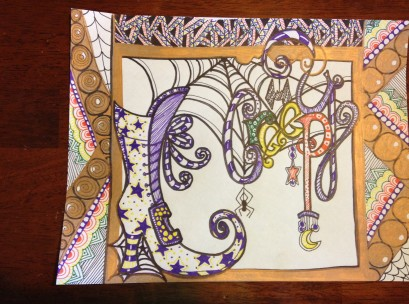 zentangle witches shoe