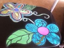 flower chair blue flower pattern blocked in