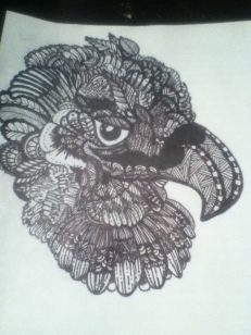 hawk zentangle