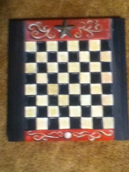 vintage game board checkers finished