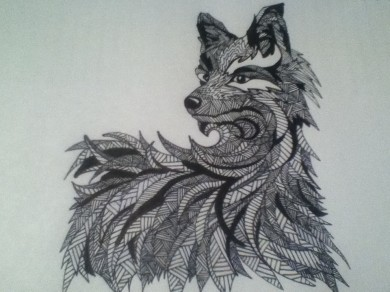 wolf zentangle