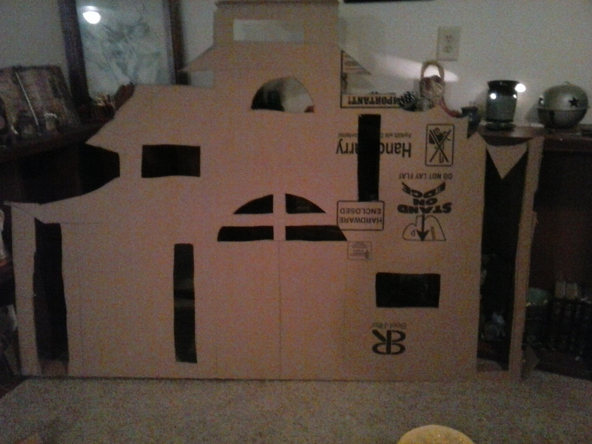 Haunted house decoration made out of cardboard humpty for How to make a cardboard haunted house