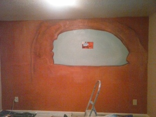 bedroom with arch wall base coated