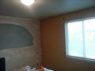 bedroom with window wall painted