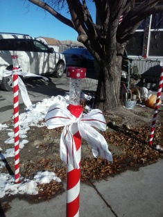 Here are the Candy cane striped Light poles that line our sidewalk leading up to our front door.