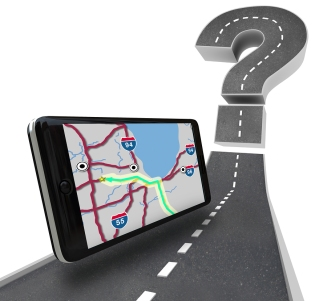 A GPS navigation unit on a road leading to a question mark symbolizing finding a route